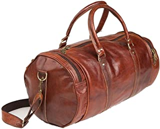 🔥 Sale! Handmade Pure Leather Duffel Travel Gym Overnight Weekend Leather Bag Classic Round Eco-Friendly Bag | Duffel Hand Luggage 24"