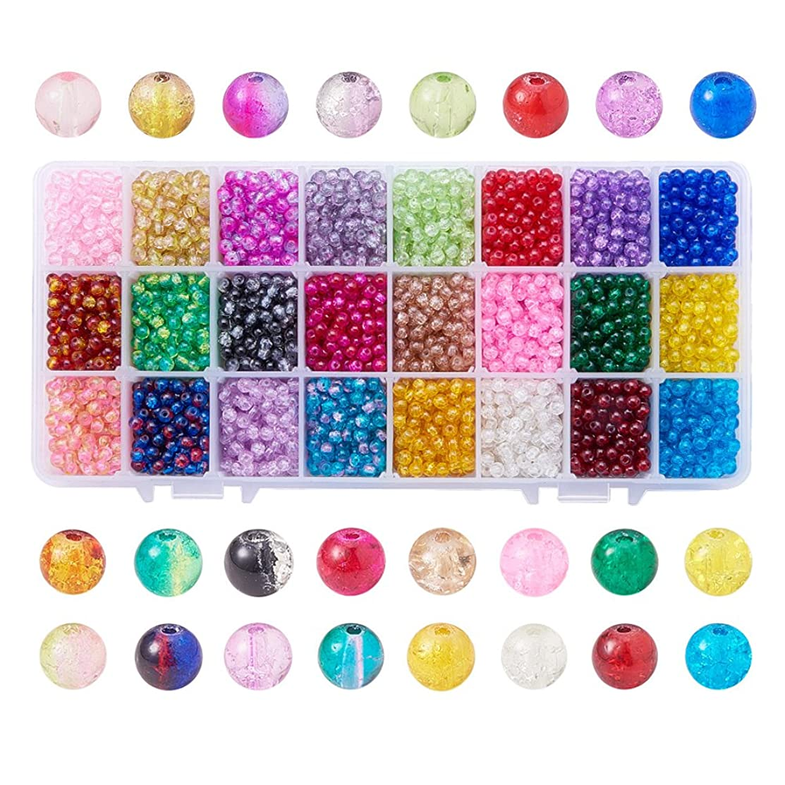 Pandahall Elite 1 Box (about 3600 pcs) 24 Color 4mm Handcrafted Crackle Lampwork Glass Round Beads Assortment Lot for Jewelry Making