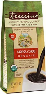 Teeccino Chicory Coffee Alternative – Organic Maya Chai - Herbal Coffee | Ground Coffee Substitute | Prebiotic | Caffeine Free | Acid Free | Medium Roast, 11 ounce