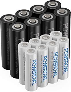 AA AAA Rechargeable Batteries POWEROWL, Pre-Charged High Capacity 2800mAh & 1000mAh 1.2V NiMH Battery Low Self Discharge, Pack of 16