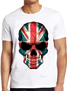 British Flag Skull T Shirt England UK Union Jack London Punk tee 207