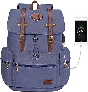 Modoker Canvas Leather Laptop Rucksack Backpack Vintage Bookbag for Women, School Backpack College Bag with USB Charging Port, Blue Fashion Travel Backpack Vegan Daypack Fits 16 Inch Notebook