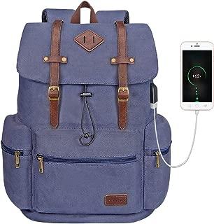 Canvas Leather Rucksack Backpack Vintage Laptop Bookbag for Women Men, Modoker Travel Laptop Backpack with USB Charging Port College School Bookbag ComputerBag VeganDaypack,Blue