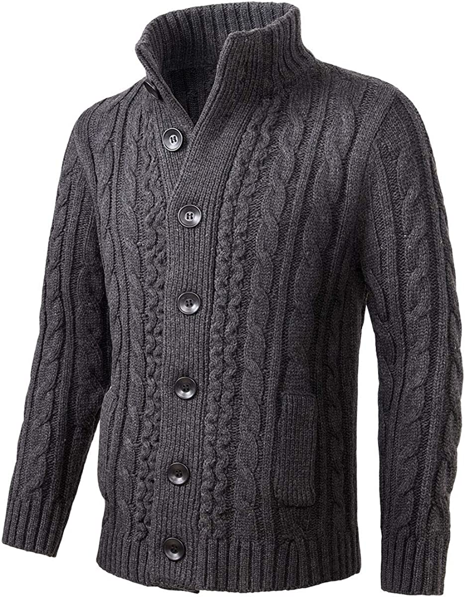BOTVELA Mens Max 58% OFF Casual Cardigan Max 83% OFF Sweater Knitted S Down Cable Button