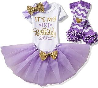 Newborn Girls It's My 1st/2nd Birthday 4 Pcs Outfits with Romper&Skirt&Headband&Leggings
