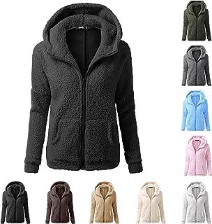 Jas met capuchon voor dames, oversized, vintage, winterjas, vrouwen, effen, fuzzy fleece, jas, ritssluiting, fleecejas, fl...