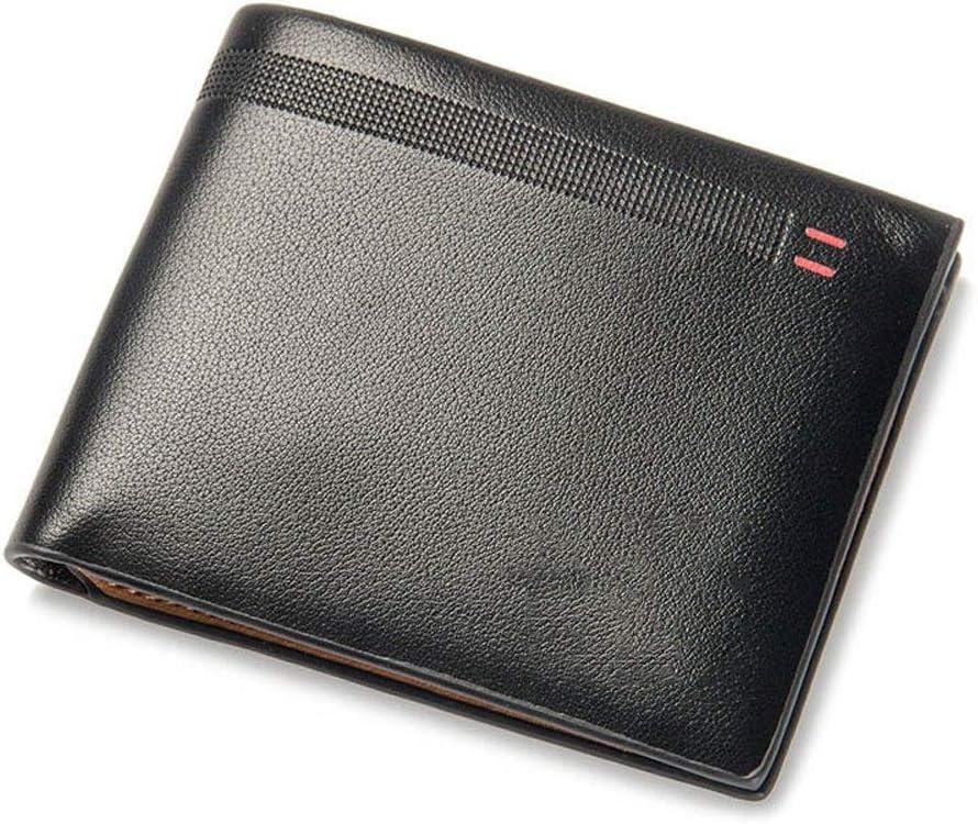 kannore Men's Quality Leather Men Wallets Business Short 3 Fold Purse Credit Card Holders Wallet Men Clip Money Bag Male Clutch QIANB714 (Color : Black)