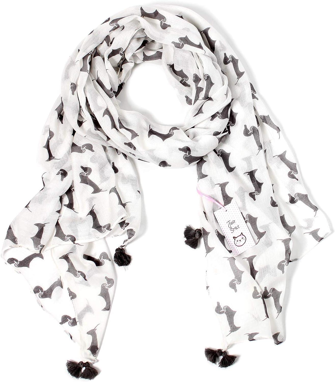 (11 COLORS) Bella Doxie Dachshund Dog Scarf, Women's Animal Print Tassel Shawl