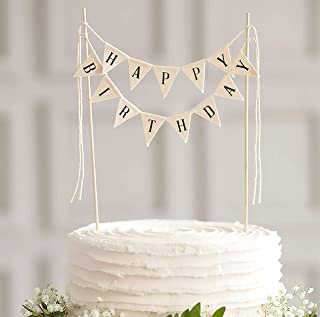 TECCA Happy Birthday Banner Cake Topper with White Cotton Burlap Flags