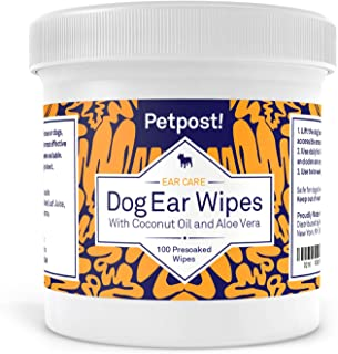 Petpost | Dog Ear Cleaner Wipes - 100 Ultra Soft Cotton Pads in Coconut Oil Aloe Solution - Remedy for Dog Ear Mites & Dog...