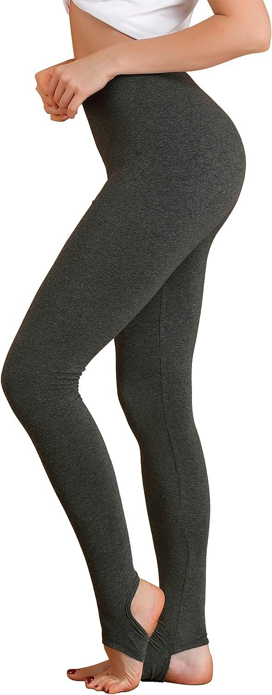 Allegra K Women's Leggings Elastic Waistband Gym Yoga Soft Cotton Stirrup Pants