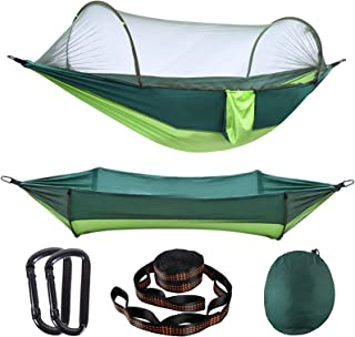 AMZQJD Camping Hammock with Automatic Pop-up Mosquito Net, Portable Single & Double Hammock with Tree Straps, Carabiners a...