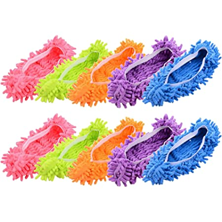 MINGZE 10 pcs (5 paires) Duster Balai laveurs Chaussons Chaussures Couverture, poussière Nettoyeur Réutilisable Microfibre Pied Chaussettes Sol poussière Saleté Cheveux Nettoyeur pour le plancher de m