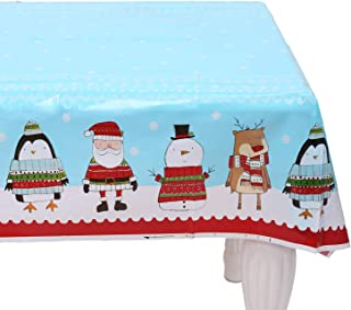 VALORCASA Christmas Tablecloth Rectangle Centerpiece Plastic Disposable Party Decoration Table Cover Holiday Table Cloth,47