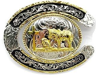 U shape western cowboy belt buckle gold silver zinc alloy belt for wedding party colthing accessories