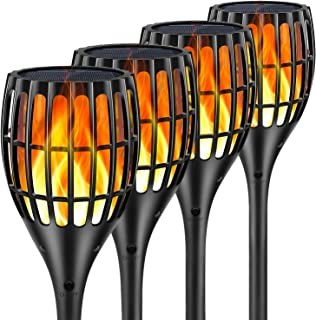 Ollivage Solar Lights Outdoor, Flickering Flames Torch Lights Outdoor Solar Garden Lights Waterproof Landscape Lighting Dusk to Dawn Auto On/Off Security Torch Light for Yard Patio Driveway, 4 Pack