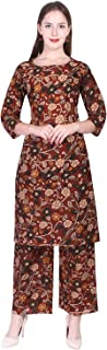 A-TEX INDIA Women's Rayon Printed straight Maroon Kurti With Palazzo Set
