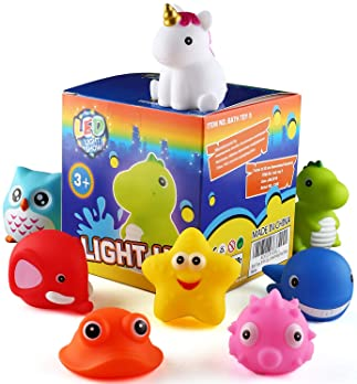 Bath Toys, 8 Pcs Light Up Floating Rubber animal Toys set, Flashing Color Changing Light in Water, CHIMAGER Baby Infa...