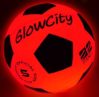 GlowCity Light Up LED Soccer Ball Blazing Red...