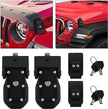 Kohree Jeep Wrangler Hood Latch Lock with 2 Keys, Original JL Hood Latches Jeep JK Accessories, Black Stainless Steel Hood Lock Catch Latches Kit for Jeep Wrangler 2007-2019 JK JL