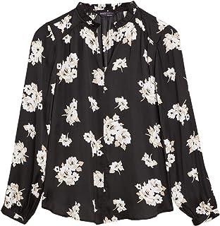Marks & Spencer Women's Satin Floral Frill Neck Popover Blouse, BLACK MIX