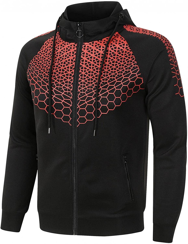 Aayomet Men's Hoodies Sweatshirts Zip Color Block Tops Casual Long Sleeve Workout Hooded Pullover Blouses Coat for Men
