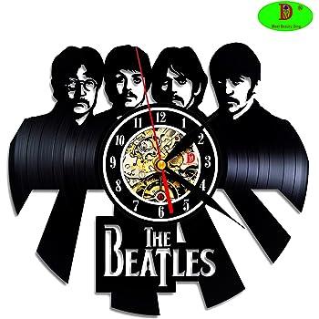 n-incomparable The Beatles Music Rock Band vinilo placa pared Reloj CD tipo Póster Creative regalo Idea para DJ habitación Músicos Studio Modern Home Decor Vintage Decoración (30,5 cm negro redondo): Amazon.es: Hogar