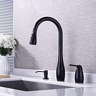 KES Kitchen Pull Down Sink Faucet Lead-Free Brass 3 Hole Gooseneck Kitchen Faucet Sprayer with Soap Dispenser Oil Rubbed Bronze, L6981LF-ORB