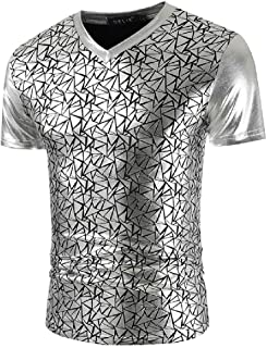 MU2M Men Luxury Sleeve Short Fashion Printed Nightclub V-Neck T-Shirt Tee
