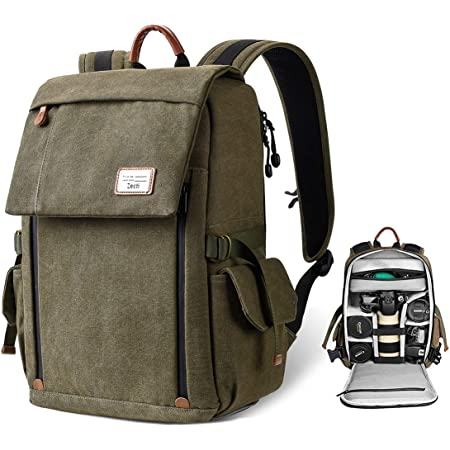 Camera Backpack Bag for DSLR/SLR Mirrorless Camera, Zecti Large Canvas Camera Bag with Anti-Theft Design Tripod Holder Laptop Compartment Waterproof Rain Cover for Men Women