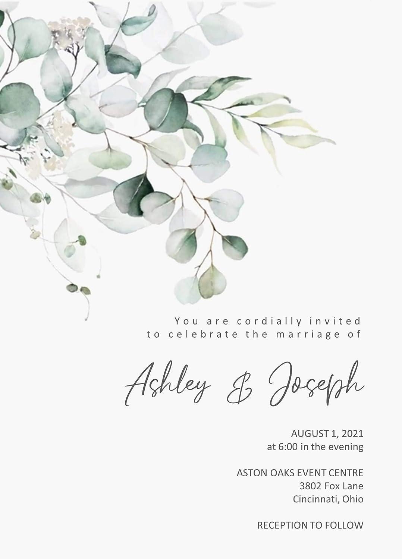 New arrival Eucalyptus Japan's largest assortment Spray Wedding Invitations with Quantity Option RSVP o