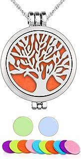 Aromathérapie Huile essentielle Diffuseur Pendentif Collier, WAWJ Arbre de vie en acier inoxydable Cadeau de Noël Bijoux a...
