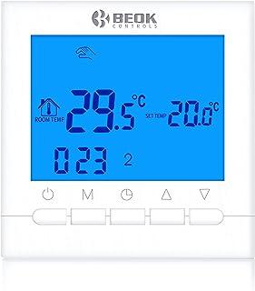 Beok BOT-313W 3A Termostato Programable Digital de Calefacción por Calderas de Gas,con Pantalla LCD Controlador de Tempera...