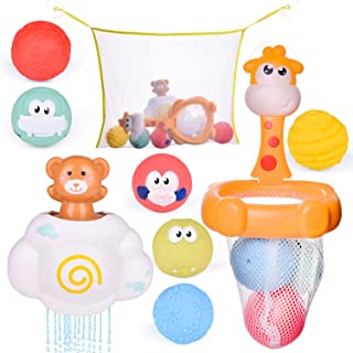 FUN LITTLE TOYS Toddler Bath Toys, Basketball Hoop Set for Kids with 6 Cute Soft Bath Balls, 1 Cloud Water Toy and 1 Organ...