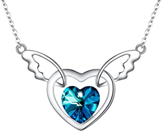 Women 925 Sterling Silver Angel Wings Cupid Pendant Necklace Adorned with Swarovski Crystals