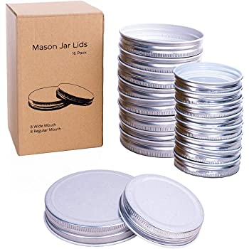 GUMBALL Mason Jar Lids 16 Pack, 8 Wide Mouth & 8 Regular Mouth Canning Lids, Food-Grade Storage Caps for Canning Jars, Leak Free and Air Tight and Fits Ball, Kerr & More