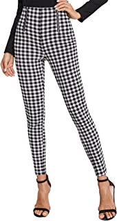 Women's Mid Waist Zip Front Gingham Skinny Pants Fashion Plaid Leggings