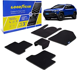 Goodyear Custom Fit Car Floor Liners for Jeep Cherokee 2015-2021, Black/Black 5 Pc. Set, All-Weather Diamond Shape Liner T...