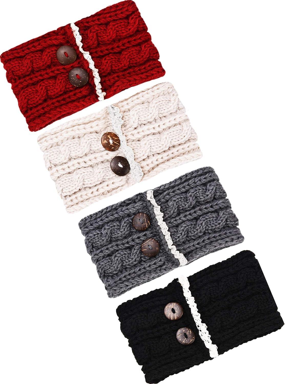 TecUnite 4 Pieces Chunky Knit Headbands Winter Braided Headband Ear Warmer Crochet Head Wraps for Women Girls (Color set 5)