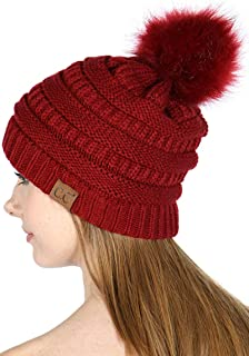 CC Beanie for Women | Fur Pom Pom Hat Beanie hat for Women, Soft Warm Cable Winter Hats for Women