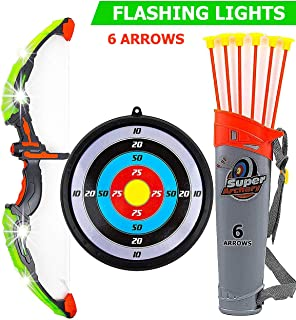 Toysery Bow and Arrow for Kids with LED Flash Lights - 13-inch Archery Bow with 6 Suction Cups Arrows, Target, and Quiver - Practice Outdoor Toys for Children Above 3 Years of Age