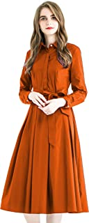 Zredurn Women Elegant Pleated Shirt Dress with Long Sleeve Pleated Belted A-Line Dress Style
