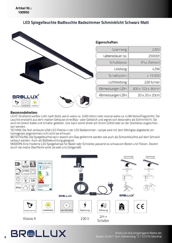 LED Spiegelleuchte Badleuchte Badezimmer Schminklicht Schwarz Matt Wandleuchte Aufbauleuchte Schrank-Beleuchtung Klemmleuchte warm-wei/ß 230V 220LM IP44 300 mm ohne Schalter