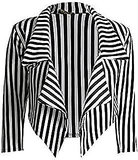 Women 3/4 Sleeve Striped Waterfall Crop Blazer Jacket Top