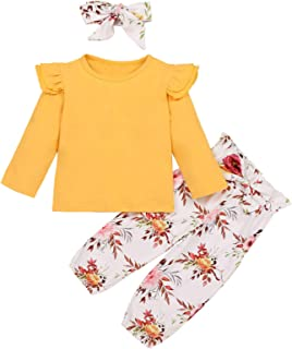 Toddler Baby Girl Clothes Solid Color Ruffle Long Sleeve Top+Floral Bowknot Pants+Headband 3Pcs Fall Winter Outfits
