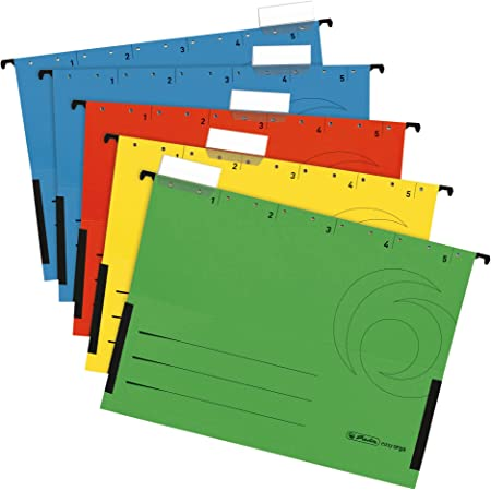 ideal f/ür B/üro und Schule und der Beh/örde 5er Packung DONAU 7420905-11 H/ängetasche mit Leinenfr/öschen auswechselbarem Blanko-Schildchen Gelb Aus Recycling-Karton 230 GSM f/ür DIN A4 Farbe Gr/ünen