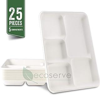 Platos de papel desechables de 5 compartimentos, bandejas escolares, biodegradables y compostables, ideales para almuerzos y cenas, color blanco, 25 unidades