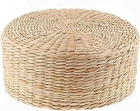 Woven Straw CushionTatami Cushion Floor Pillow Natural Woven Grass Cushion Round Floor Padded Yoga Mat Meditation Pillow C...