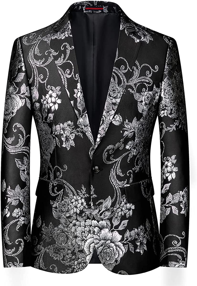 Mens Blazer Slim Fit Casual Sport Coat Jacket Floral Pattern One Button Tuxedo Suits for Wedding Prom Party