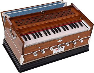 $279 Get Harmonium Eco Model By Kaayna Musicals, Brown Colour, 7 Stops- 2 Drone, 3¼ Octaves, Gig Bag, Bass/Male Reed Tuned- 440 Hz, Best for Peace, Yoga, Bhajan, Kirtan, Shruti, Mantra, etc